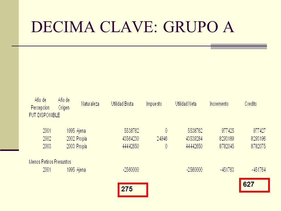 DECIMA CLAVE: GRUPO A 627 275
