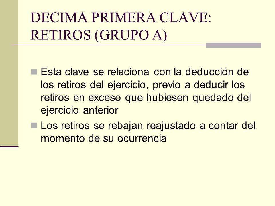 DECIMA PRIMERA CLAVE: RETIROS (GRUPO A)