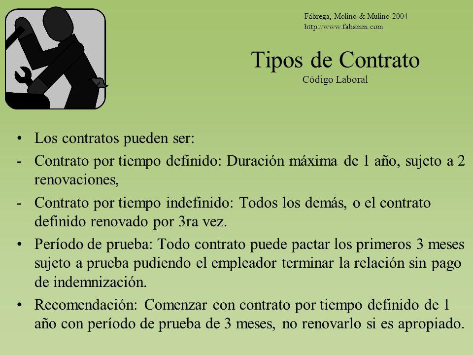 Tipos de Contrato Código Laboral