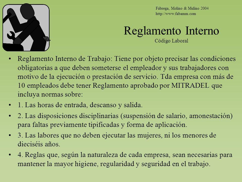 Reglamento Interno Código Laboral