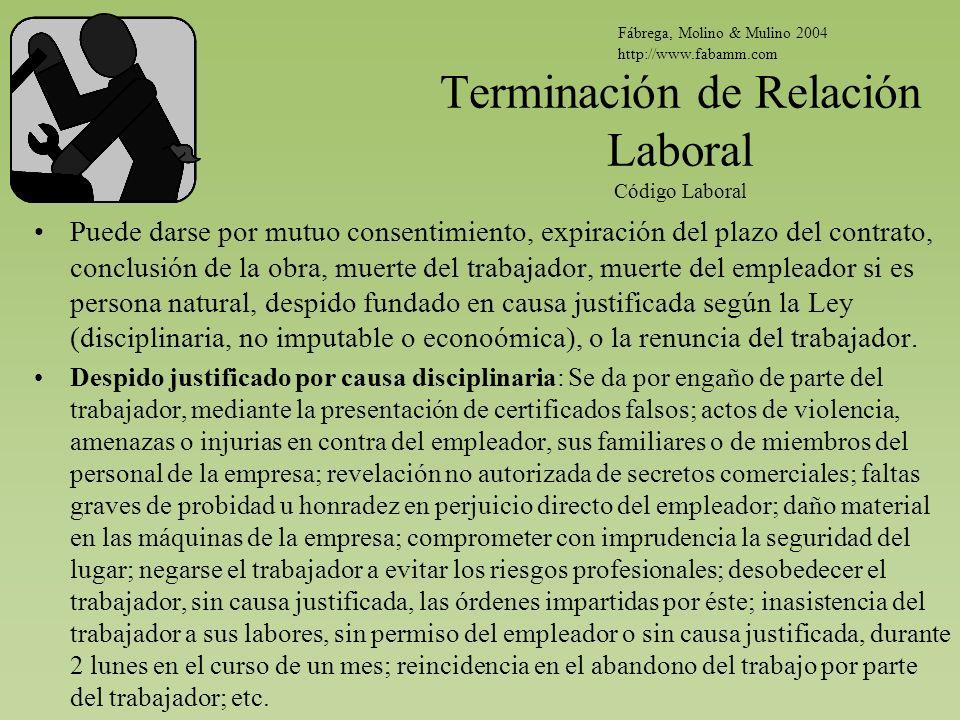 Terminación de Relación Laboral Código Laboral