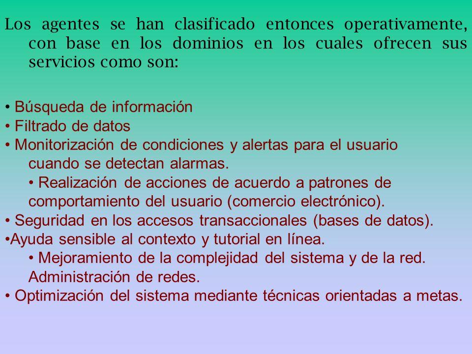 Los agentes se han clasificado entonces operativamente, con base en los dominios en los cuales ofrecen sus servicios como son: