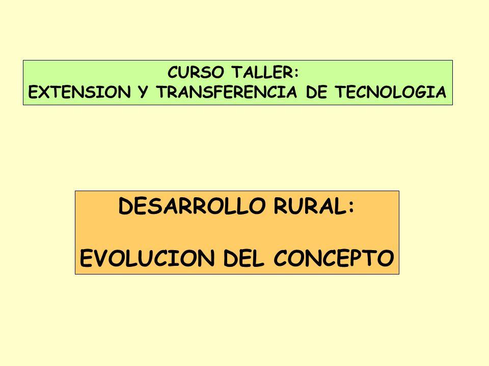 EXTENSION Y TRANSFERENCIA DE TECNOLOGIA EVOLUCION DEL CONCEPTO
