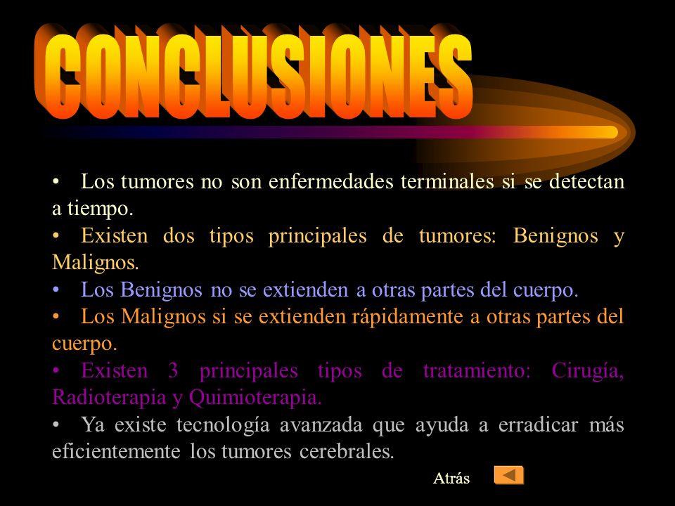 CONCLUSIONES Los tumores no son enfermedades terminales si se detectan a tiempo. Existen dos tipos principales de tumores: Benignos y Malignos.