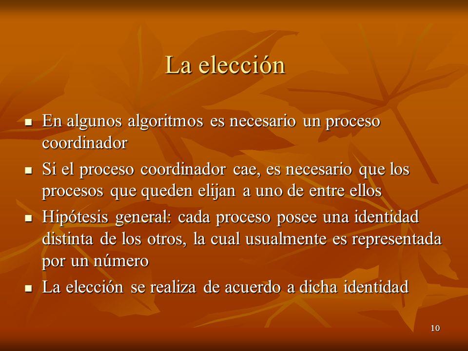 La elección En algunos algoritmos es necesario un proceso coordinador