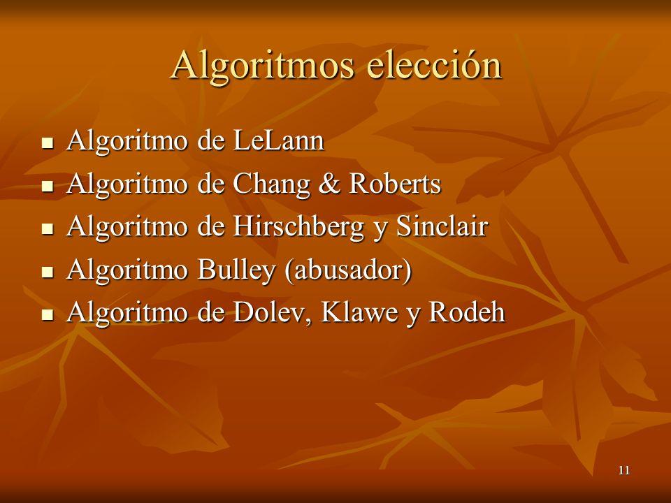 Algoritmos elección Algoritmo de LeLann Algoritmo de Chang & Roberts