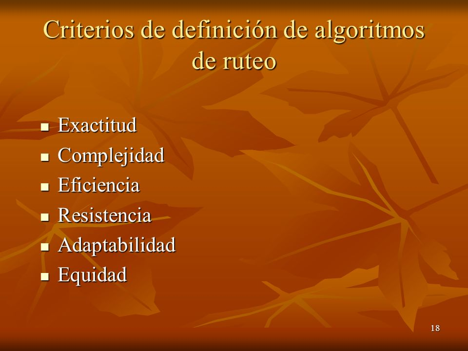 Criterios de definición de algoritmos de ruteo
