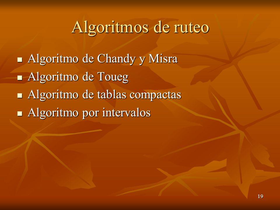 Algoritmos de ruteo Algoritmo de Chandy y Misra Algoritmo de Toueg
