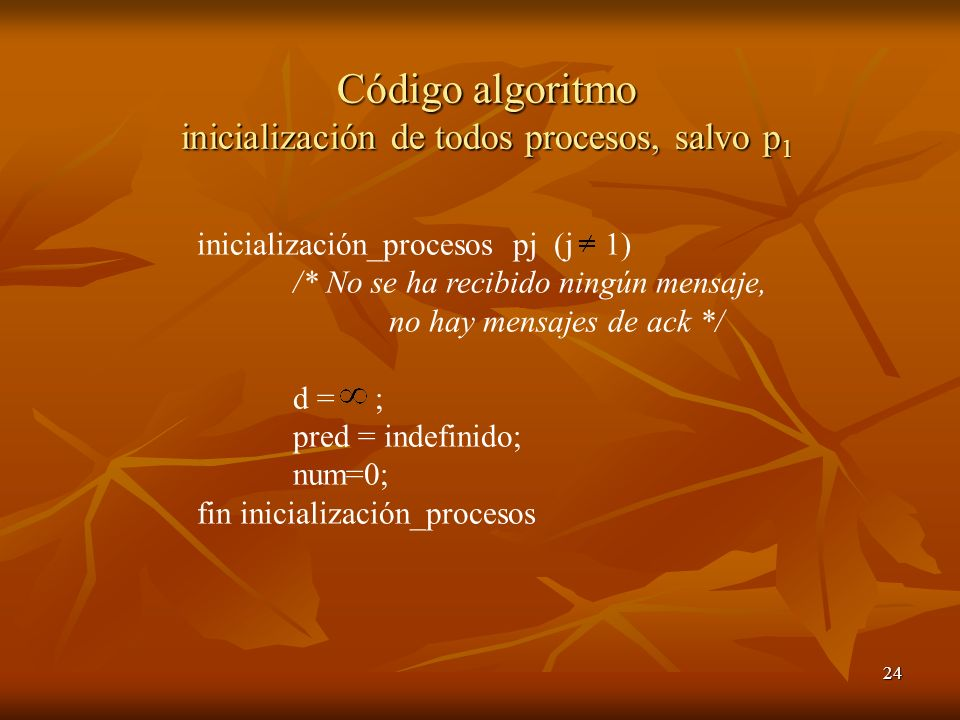 Código algoritmo inicialización de todos procesos, salvo p1
