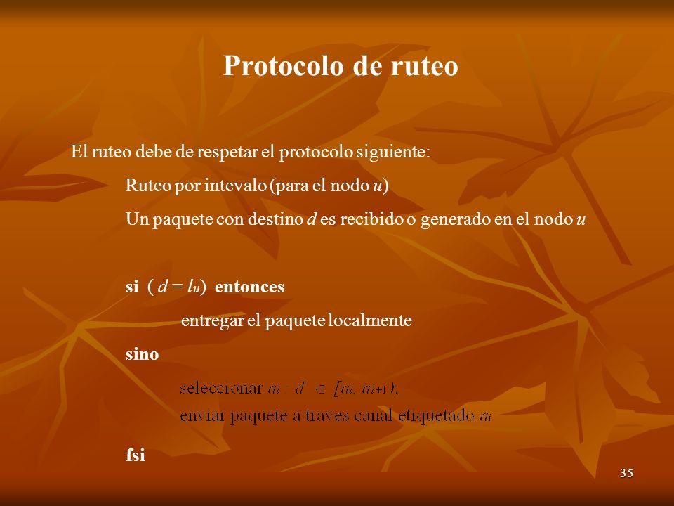 Protocolo de ruteo El ruteo debe de respetar el protocolo siguiente: