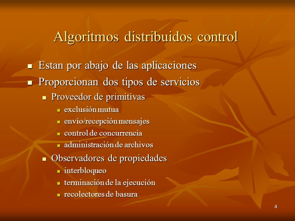 Algoritmos distribuidos control