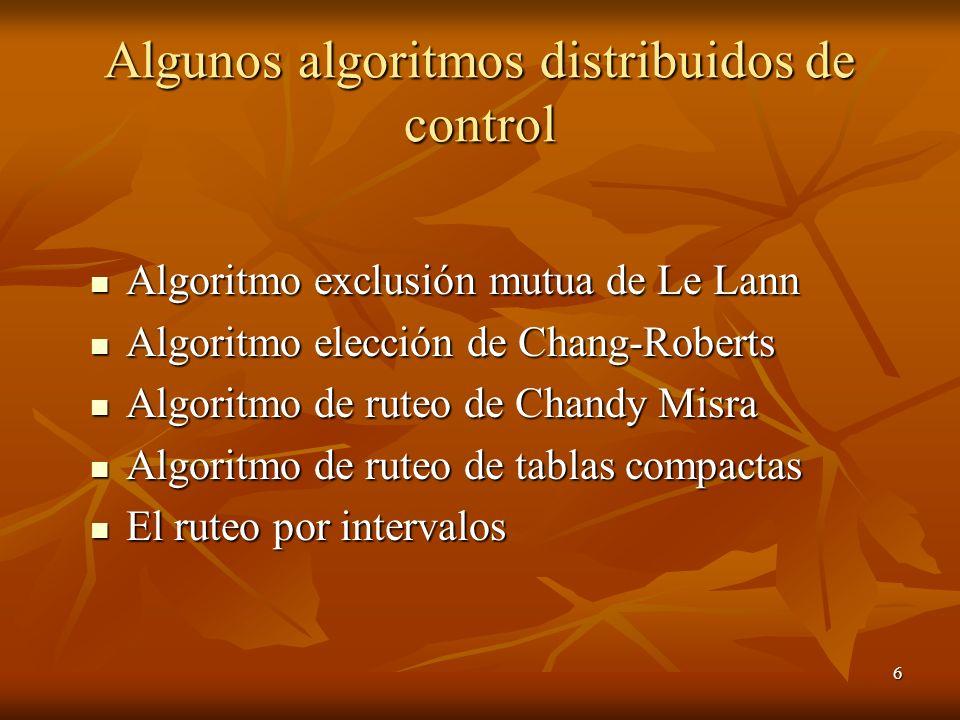 Algunos algoritmos distribuidos de control