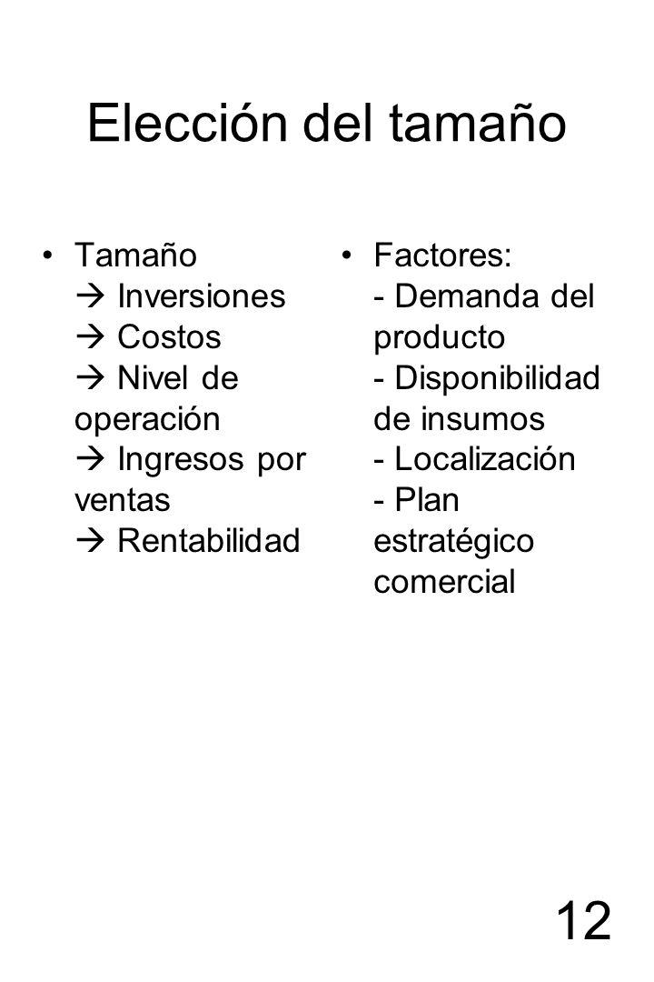 Elección del tamaño Tamaño  Inversiones  Costos  Nivel de operación  Ingresos por ventas  Rentabilidad.
