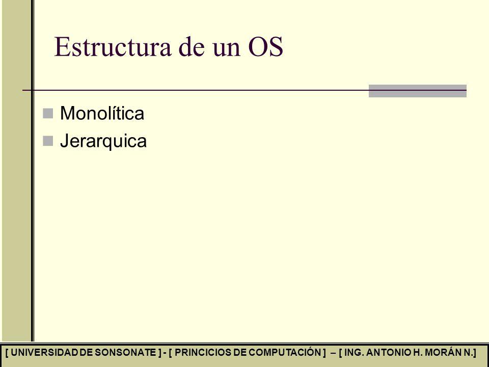 Estructura de un OS Monolítica Jerarquica
