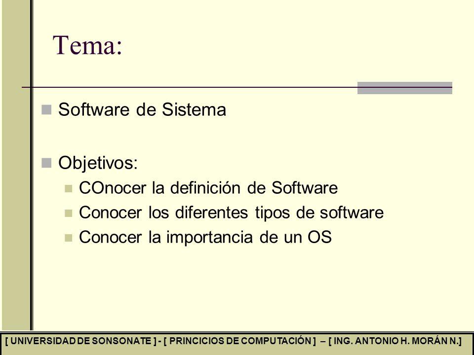 Tema: Software de Sistema Objetivos: COnocer la definición de Software