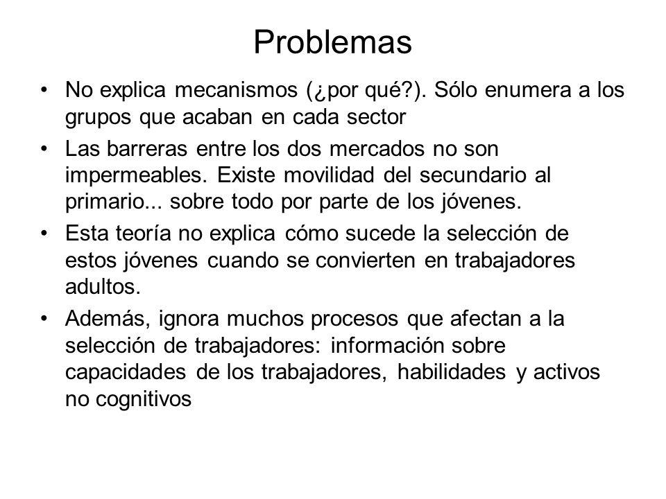 Problemas No explica mecanismos (¿por qué ). Sólo enumera a los grupos que acaban en cada sector.