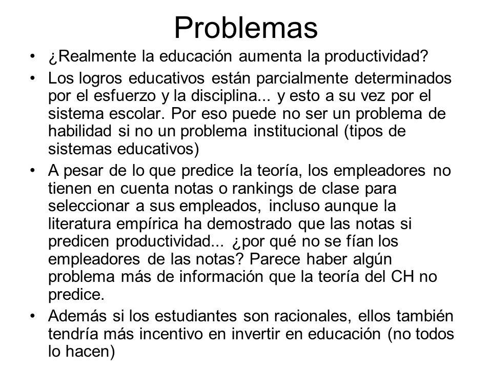 Problemas ¿Realmente la educación aumenta la productividad