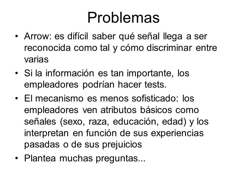 Problemas Arrow: es difícil saber qué señal llega a ser reconocida como tal y cómo discriminar entre varias.