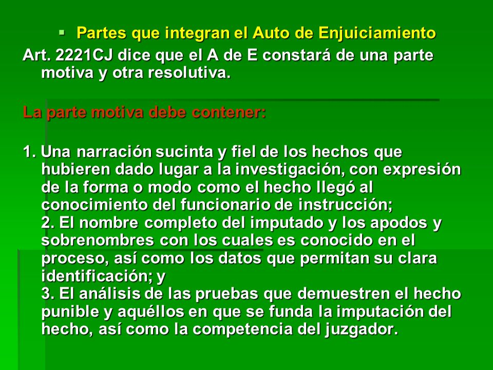 Partes que integran el Auto de Enjuiciamiento