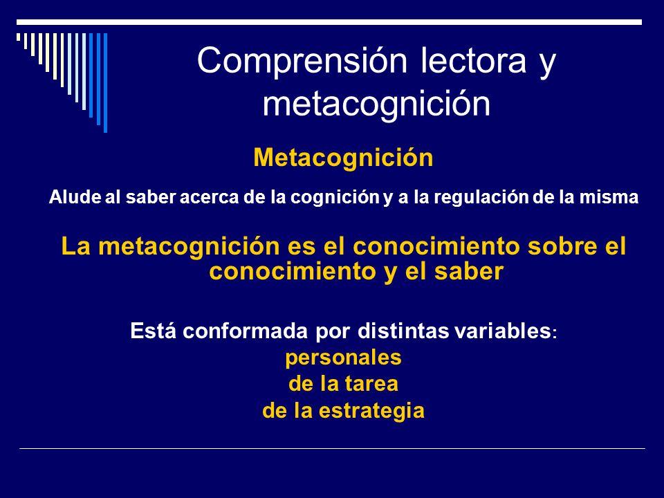 Comprensión lectora y metacognición