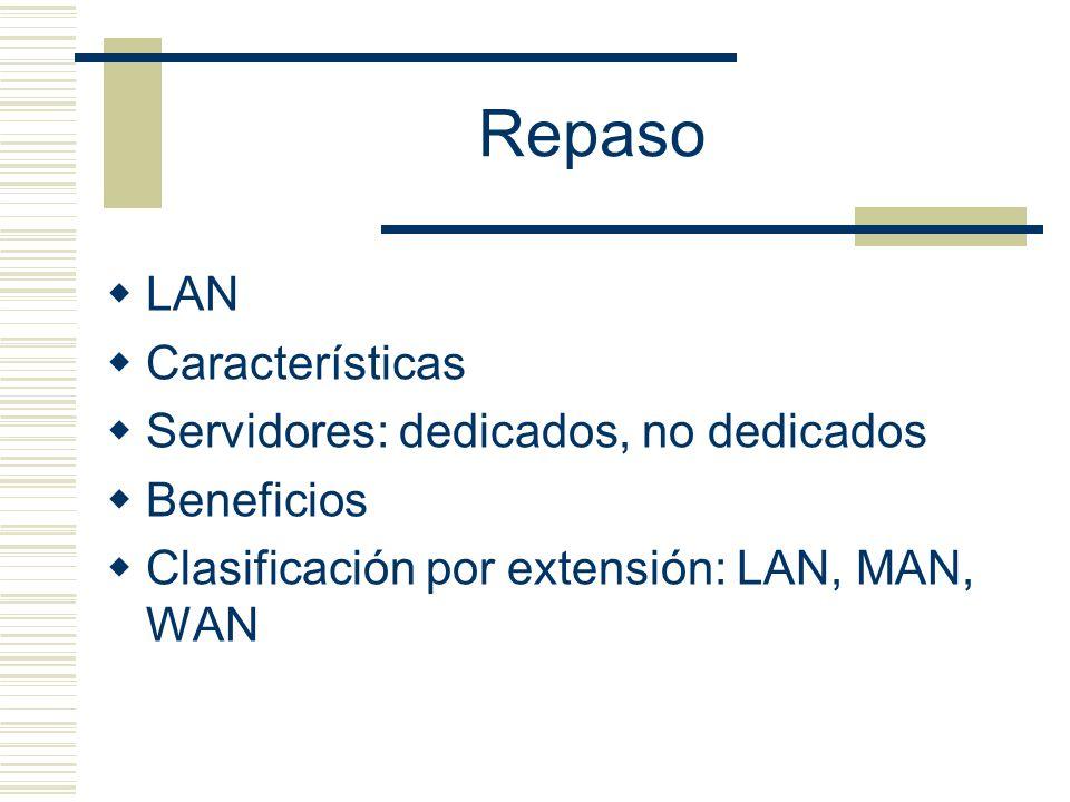 Repaso LAN Características Servidores: dedicados, no dedicados