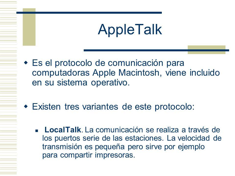 AppleTalk Es el protocolo de comunicación para computadoras Apple Macintosh, viene incluido en su sistema operativo.