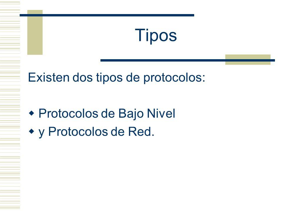 Tipos Existen dos tipos de protocolos: Protocolos de Bajo Nivel