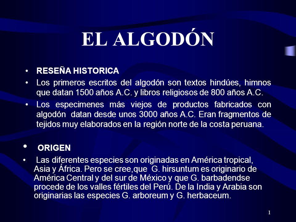 EL ALGODÓN ORIGEN RESEÑA HISTORICA