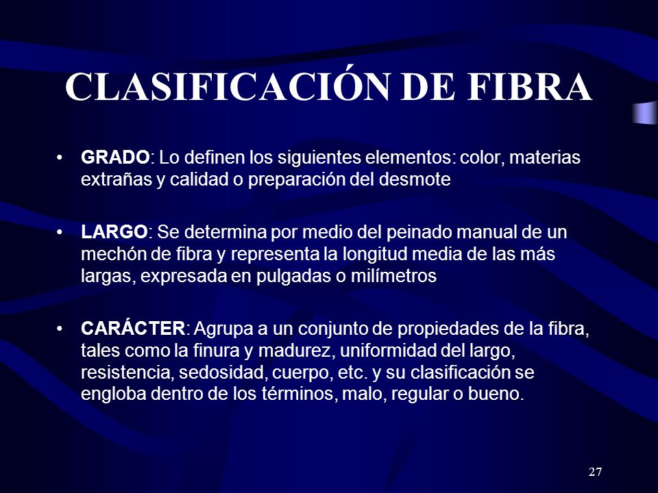 CLASIFICACIÓN DE FIBRA
