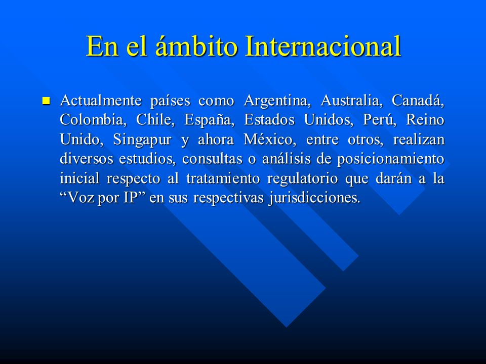 En el ámbito Internacional