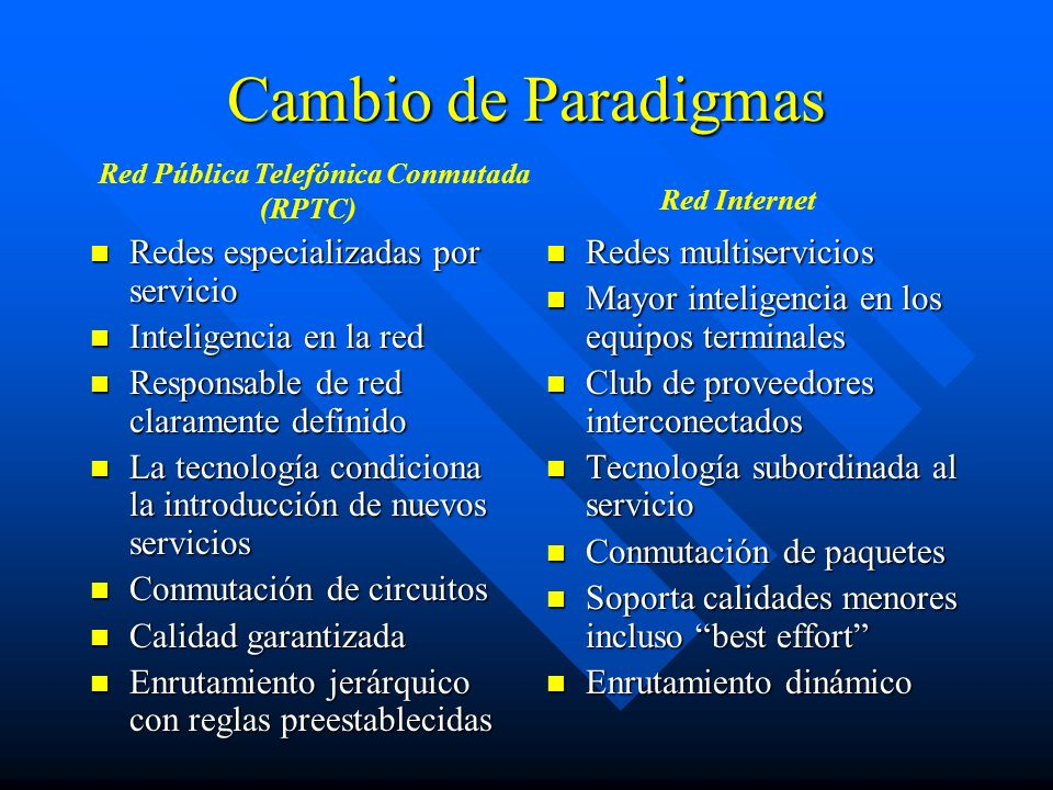 Cambio de Paradigmas Redes especializadas por servicio