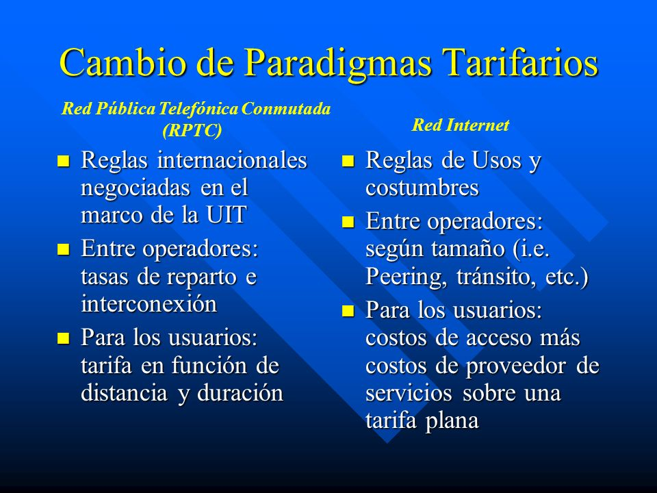 Cambio de Paradigmas Tarifarios