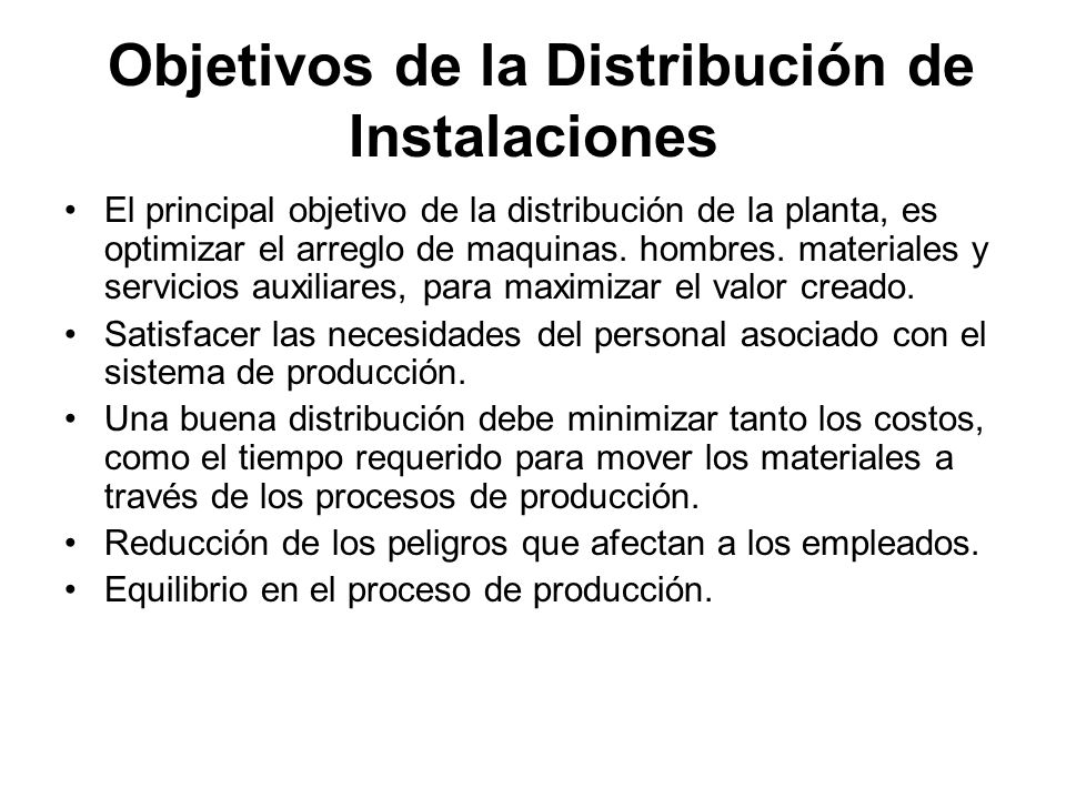 Objetivos de la Distribución de Instalaciones