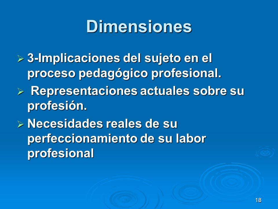 Dimensiones 3-Implicaciones del sujeto en el proceso pedagógico profesional. Representaciones actuales sobre su profesión.