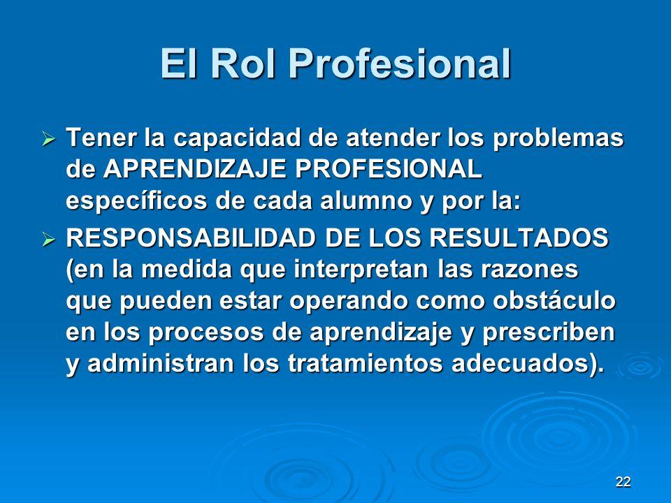 El Rol Profesional Tener la capacidad de atender los problemas de APRENDIZAJE PROFESIONAL específicos de cada alumno y por la:
