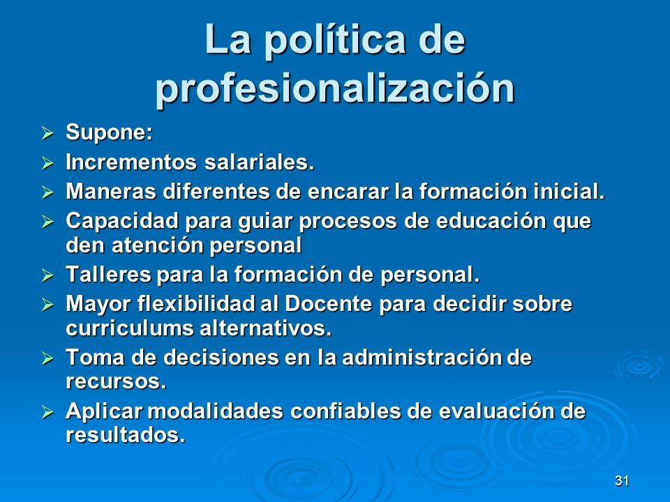 La política de profesionalización