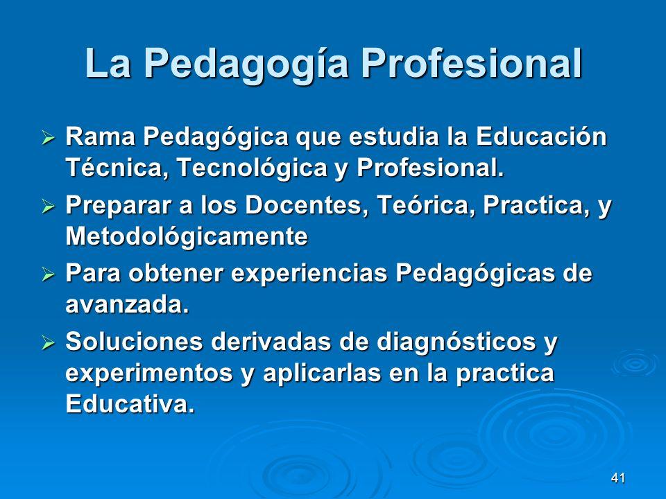 La Pedagogía Profesional