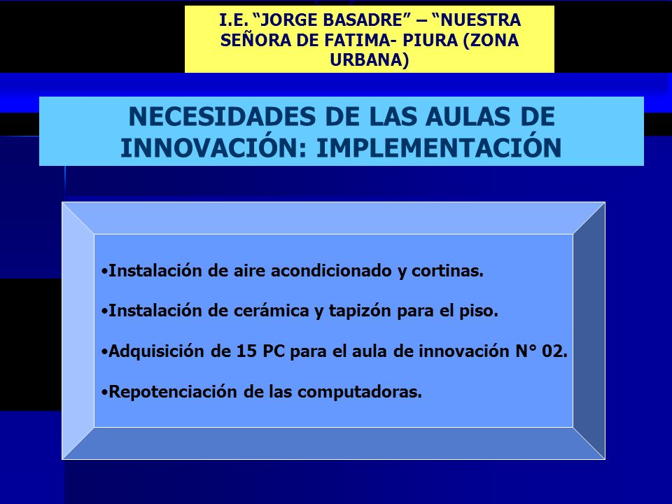 I.E. JORGE BASADRE – NUESTRA SEÑORA DE FATIMA- PIURA (ZONA URBANA)