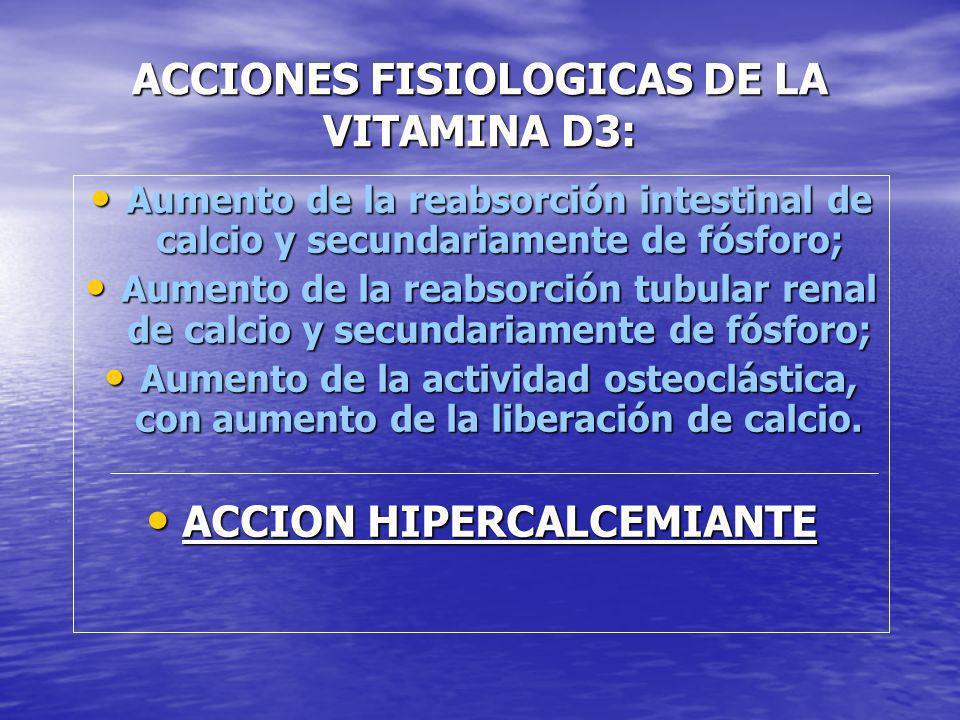 ACCIONES FISIOLOGICAS DE LA VITAMINA D3: