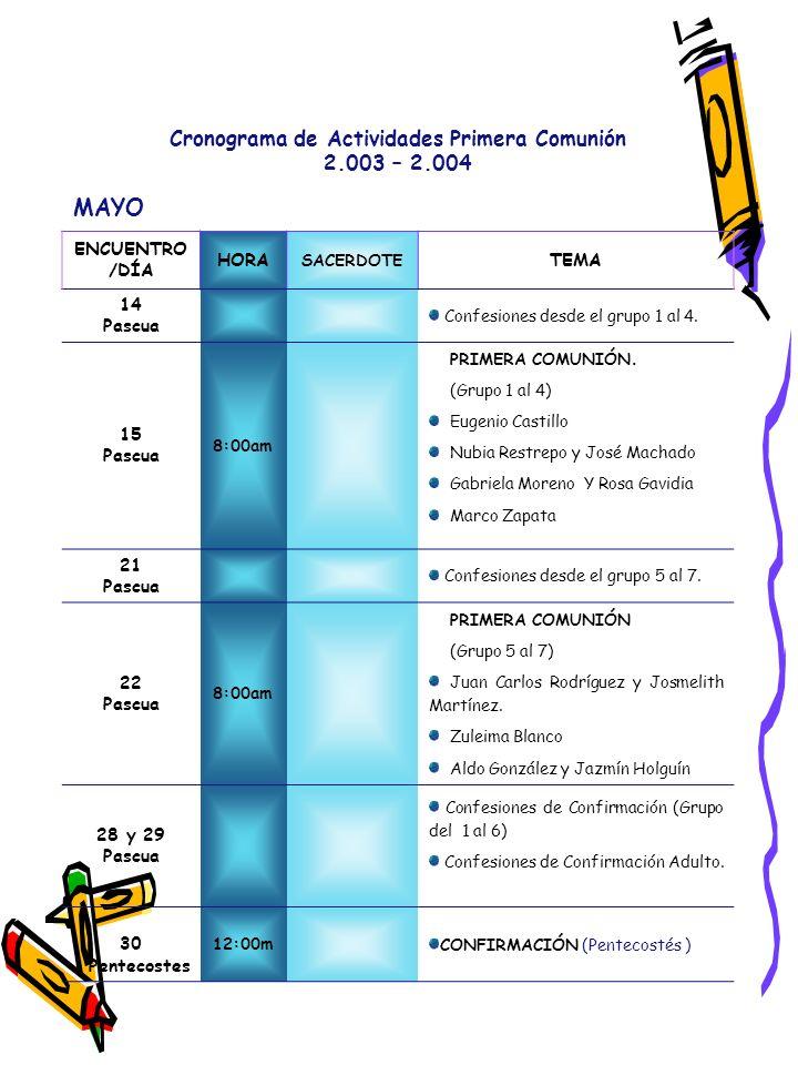 Cronograma de Actividades Primera Comunión 2.003 – 2.004