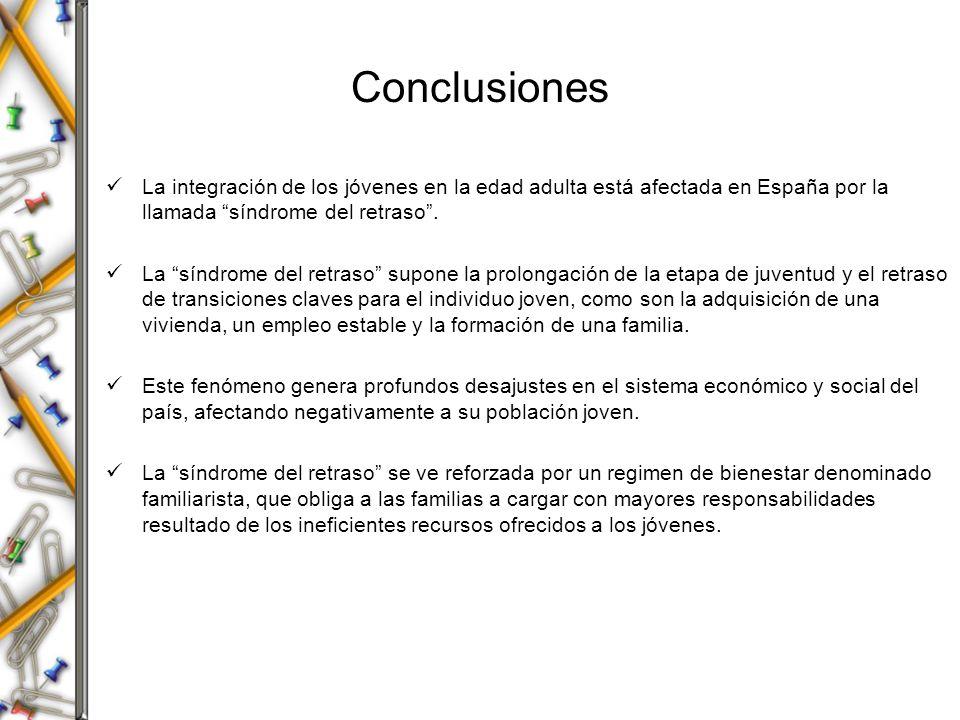 Conclusiones La integración de los jóvenes en la edad adulta está afectada en España por la llamada síndrome del retraso .
