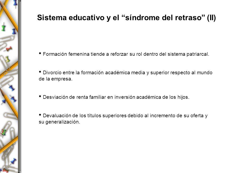 Sistema educativo y el síndrome del retraso (II)