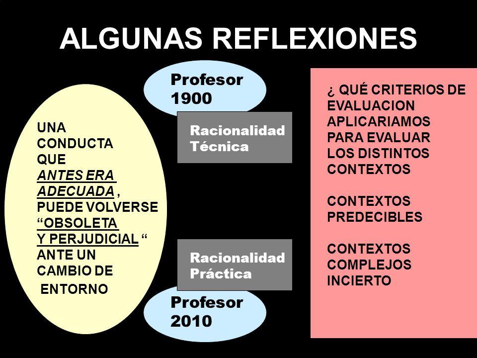 ALGUNAS REFLEXIONES Profesor 1900 Profesor 2010 ¿ QUÉ CRITERIOS DE