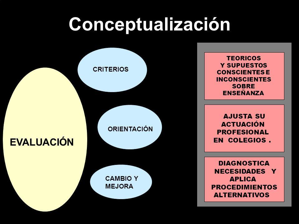 Conceptualización EVALUACIÓN CRITERIOS AJUSTA SU ACTUACIÓN PROFESIONAL