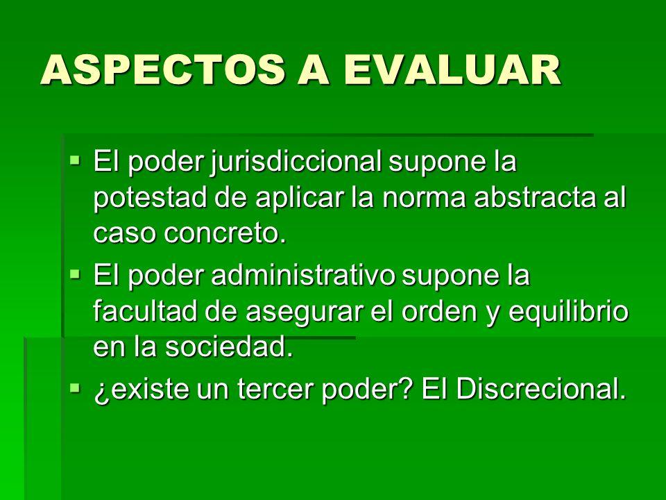 ASPECTOS A EVALUAREl poder jurisdiccional supone la potestad de aplicar la norma abstracta al caso concreto.