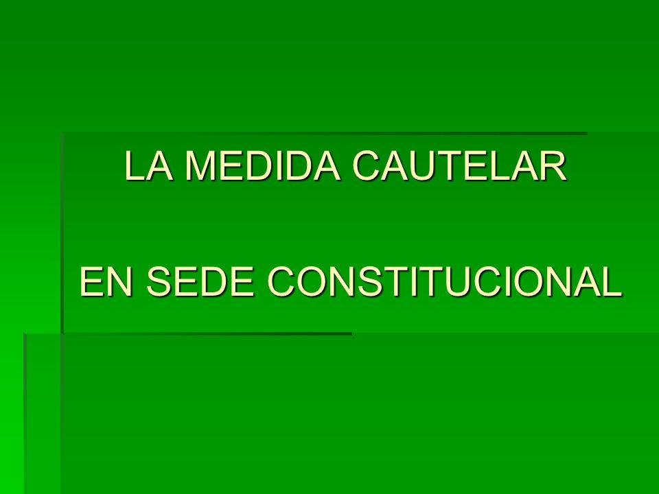 LA MEDIDA CAUTELAR EN SEDE CONSTITUCIONAL