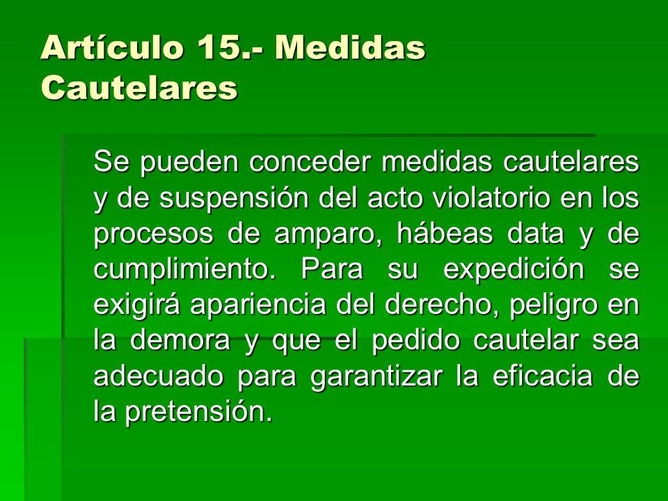 Artículo 15.- Medidas Cautelares