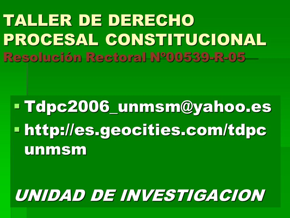 TALLER DE DERECHO PROCESAL CONSTITUCIONAL Resolución Rectoral Nº00539-R-05