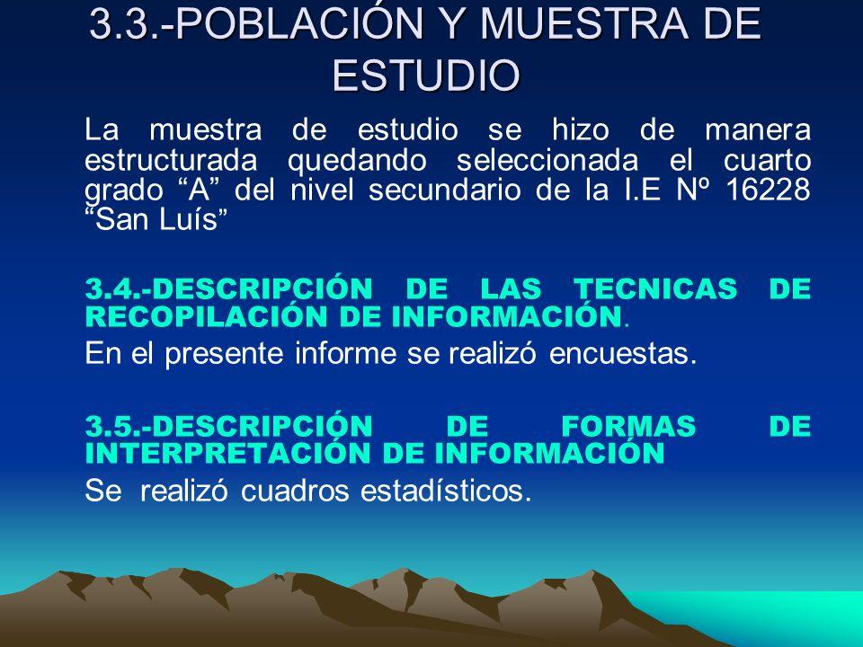 3.3.-POBLACIÓN Y MUESTRA DE ESTUDIO