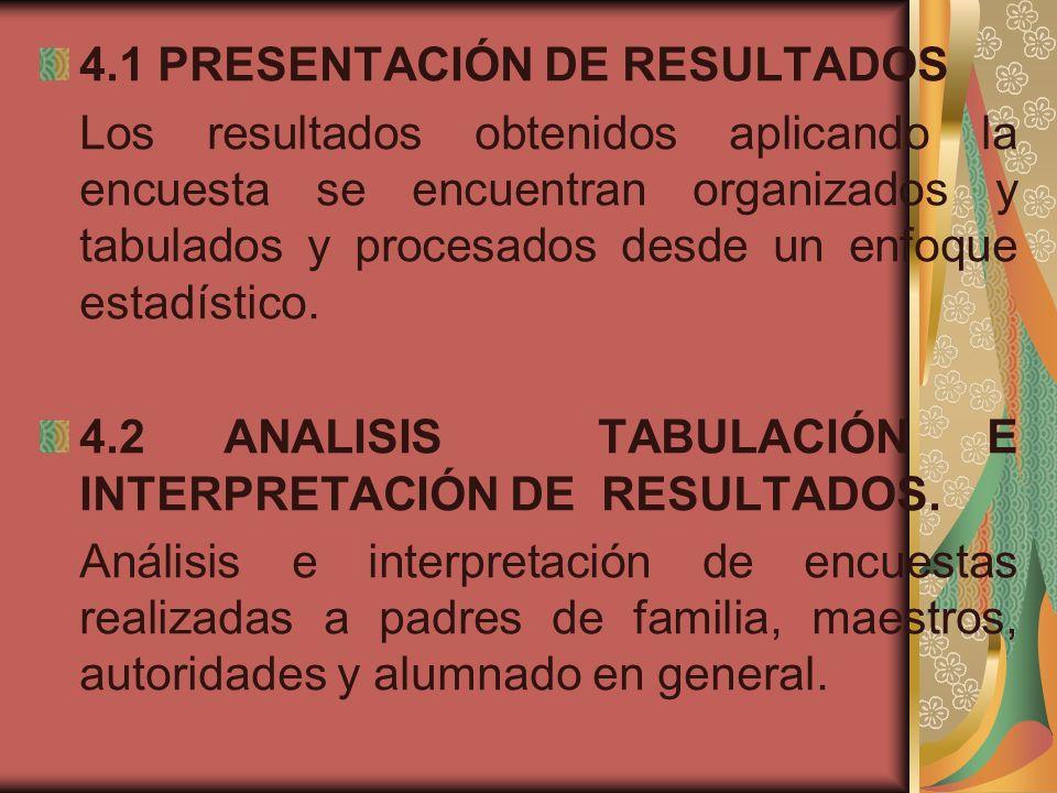 4.1 PRESENTACIÓN DE RESULTADOS